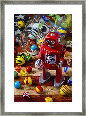 Red Robot And Marbles Framed Print by Garry Gay