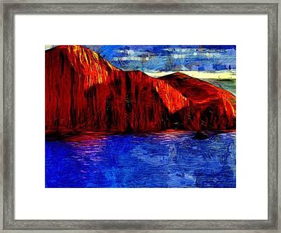 Red Rock Across The Water Framed Print by Mario Carini