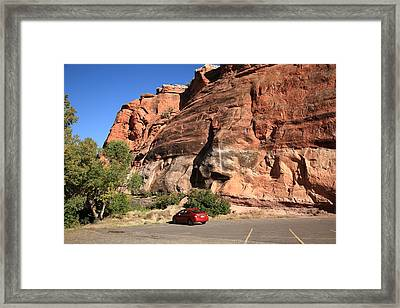 Red Rock And Red Car Framed Print by Frank Romeo