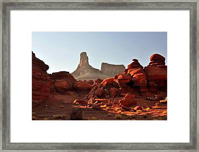 Red Rock And Spire Framed Print by Marty Koch