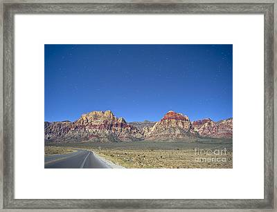 Red Rock Canyon By Moonlight Framed Print