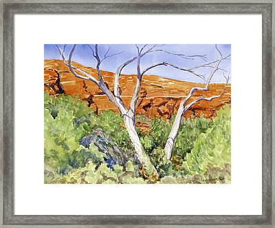 Red Rock Crossing Guard Framed Print by Gurukirn Khalsa