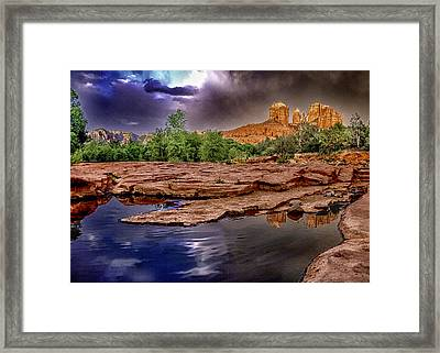 Red Rock Crossing Red Rock State Park Framed Print by Bob and Nadine Johnston