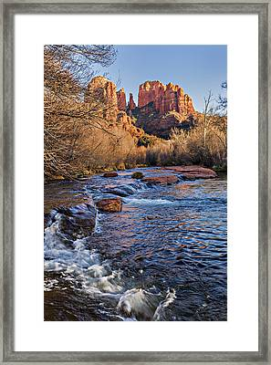 Red Rock Crossing Winter Framed Print by Mary Jo Allen