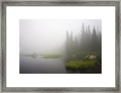 Red Rock Lake And Fog Framed Print
