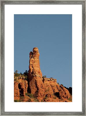 Red Rock Ledge With Rock Profile Framed Print