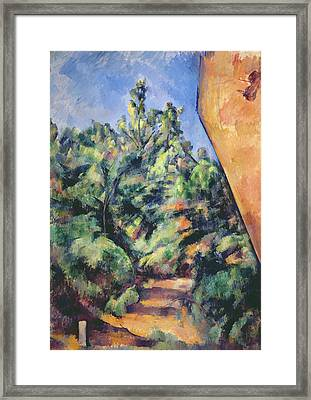 Red Rock Framed Print by Paul Cezanne