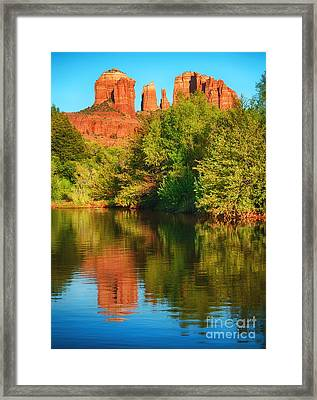 Red Rock Reflection Framed Print by Claudia Kuhn