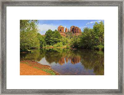 Red Rock Reflection Framed Print by Mike Lang