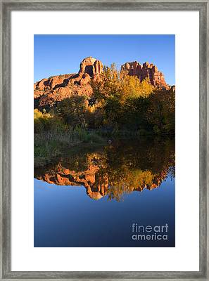 Red Rock Reflections Framed Print by Mike  Dawson
