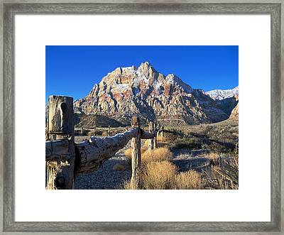 Red Rock Snow Framed Print by Alan Socolik