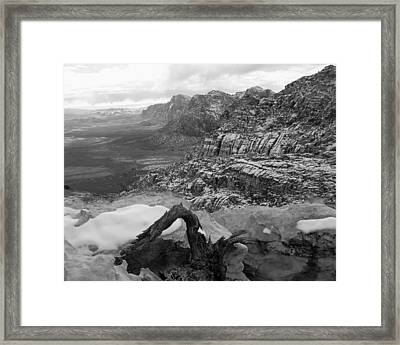 Framed Print featuring the photograph Red Rock Winter by Alan Socolik