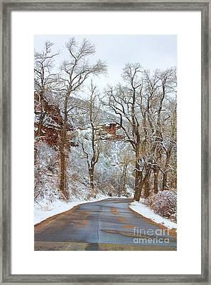 Red Rock Winter Road Portrait Framed Print