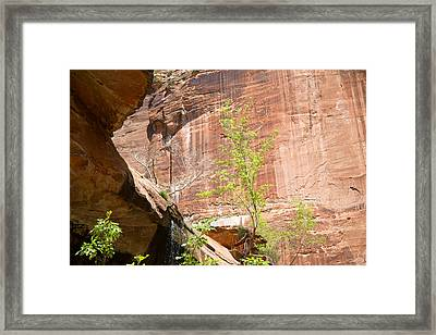 Red Rock With Waterfall Framed Print