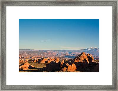 Red Rocks And The La Sal's Framed Print