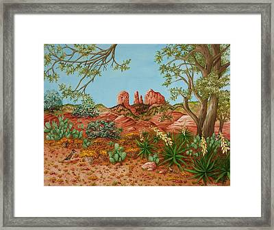 Framed Print featuring the painting Landscapes Desert Red Rocks Of Sedona Arizona by Katherine Young-Beck
