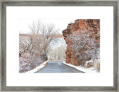 Red Rocks Winter Landscape Drive Framed Print by James BO  Insogna