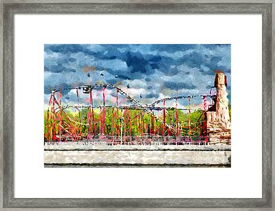Red Roller Coaster Painting Framed Print by Magomed Magomedagaev
