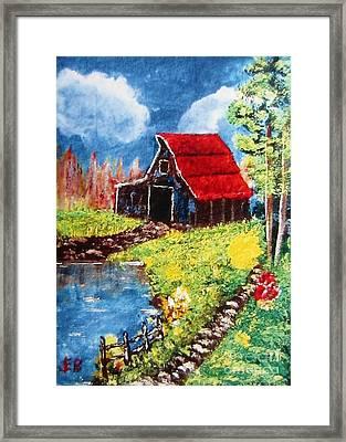 Red Roof Barn Impressionism Framed Print