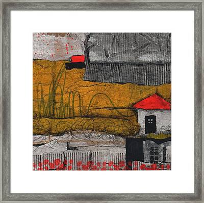 Red Roof Black Door Framed Print