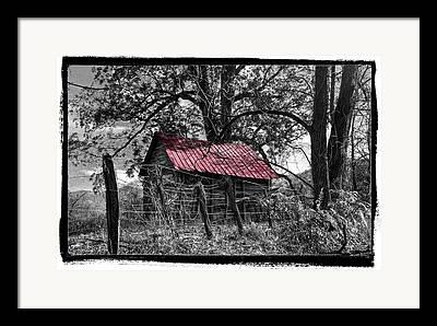 Old Barn Pen And Ink Framed Prints