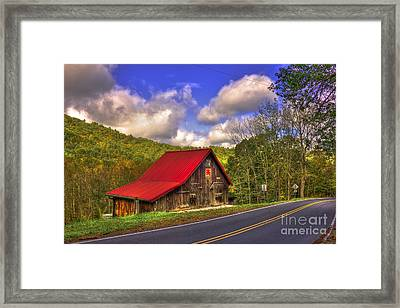 Red Roof In The Blue Ridge Mountains Framed Print by Reid Callaway