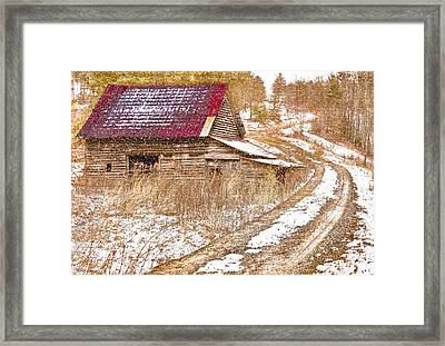 Red Roof In The Snow  Framed Print by Debra and Dave Vanderlaan