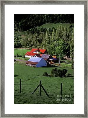 Red Roofed Barn Chiloe Island Framed Print by Craig Lovell