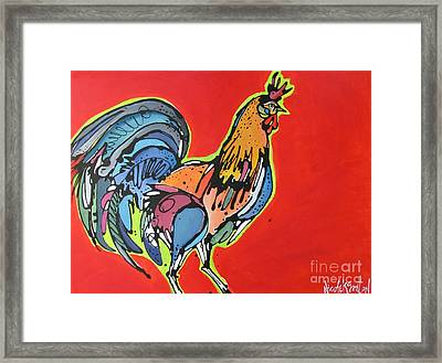 Framed Print featuring the painting Red Rooster by Nicole Gaitan