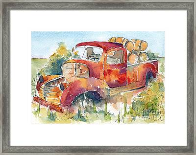 Red Rooster Rust Bucket Framed Print