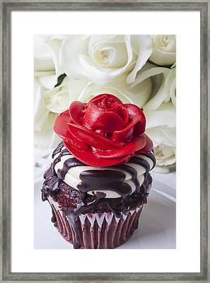Red Rose Cupcake Framed Print by Garry Gay
