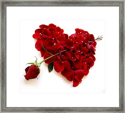 Red Rose Heart Valentine Framed Print by Boon Mee