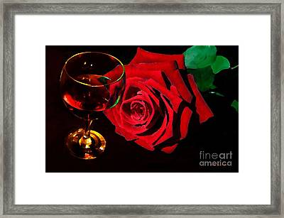 Red Rose Red Wine Romantic Evening Framed Print by Annie Zeno