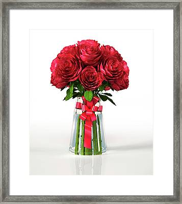 Red Roses In A Vase Framed Print by Leonello Calvetti