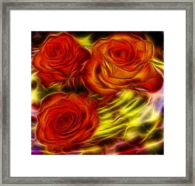 Framed Print featuring the painting Red Roses In Water - Fractal  by Lilia D