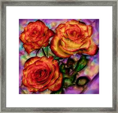 Framed Print featuring the digital art Red Roses In Water - Silk Edition by Lilia D