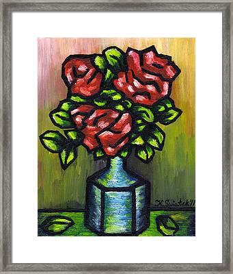 Red Roses Framed Print by Kamil Swiatek