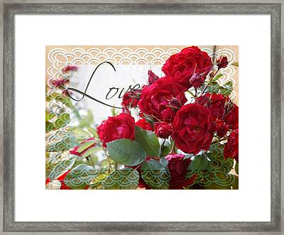 Framed Print featuring the photograph Red Roses Love And Lace by Sandra Foster