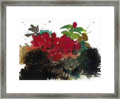 Framed Print featuring the painting Red Roses On The Rocks by Elaine Elliott