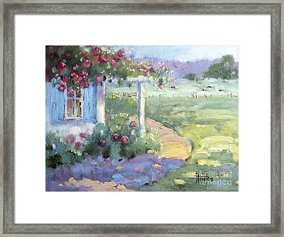 Red Roses Over Blue Shutters Framed Print