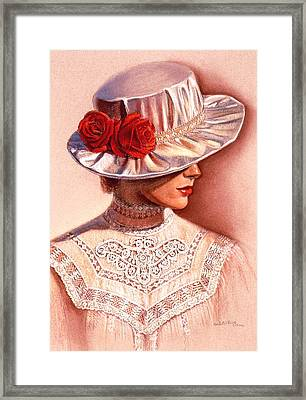 Framed Print featuring the painting Red Roses Satin Hat by Sue Halstenberg