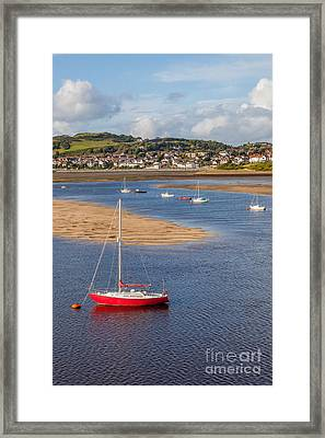 Red Sail Boat Framed Print by Adrian Evans