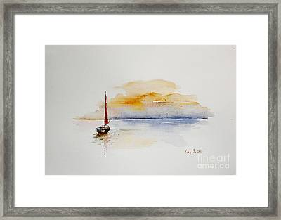 Red Sail Framed Print by Sibby