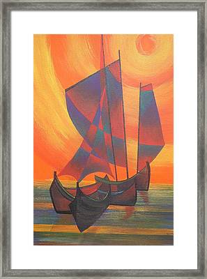Framed Print featuring the painting Red Sails In The Sunset by Tracey Harrington-Simpson