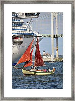 Framed Print featuring the photograph Red Sails Newport Ri by Marianne Campolongo