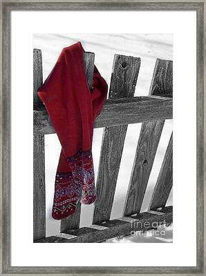 Red Scarf Hanging On Fence Framed Print by Birgit Tyrrell