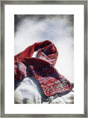 Red Scarf In Snow Framed Print by Birgit Tyrrell