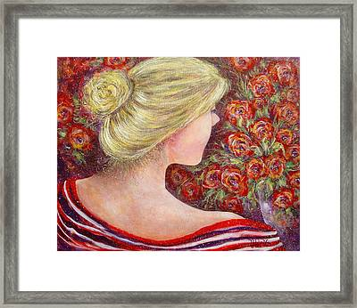 Framed Print featuring the painting Red Scented Roses by Natalie Holland