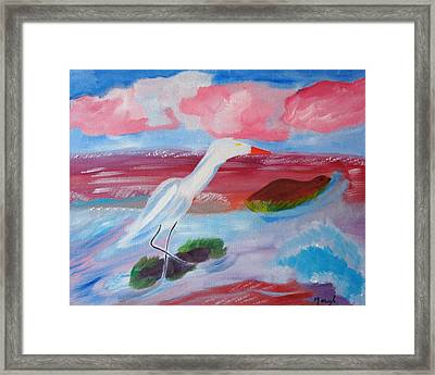 Red Seas Calling Framed Print by Meryl Goudey