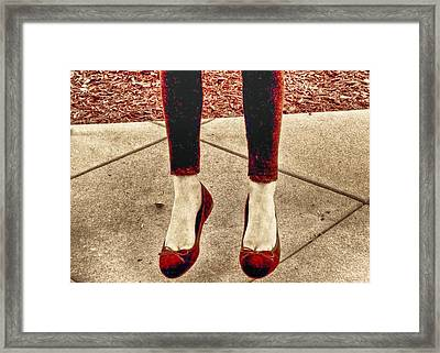 Red Shoes Framed Print by Kristina Deane